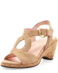 Sandales compensées en daim brunes claires Taryn Rose