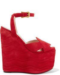 Sandales compensées en daim rouges Gucci