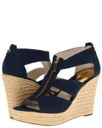 Sandales compensées en toile bleues marine MICHAEL Michael Kors