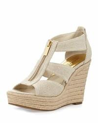 Sandales compensées en toile brunes claires MICHAEL Michael Kors