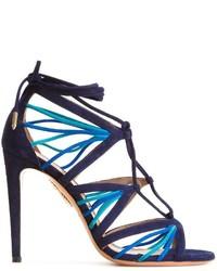 Sandales en cuir bleues marine Aquazzura