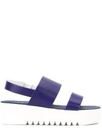 Sandales en cuir bleues marine P.A.R.O.S.H.