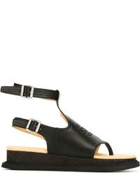 Sandales en cuir noires MM6 MAISON MARGIELA