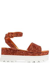 Sandales en cuir orange Miu Miu