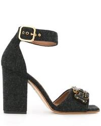 Sandales en cuir ornées grises foncées Marni