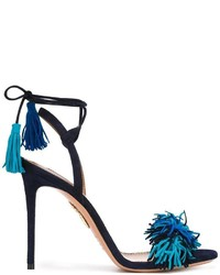 Sandales en daim bleues marine Aquazzura