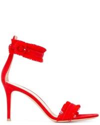 Sandales en daim rouges Gianvito Rossi