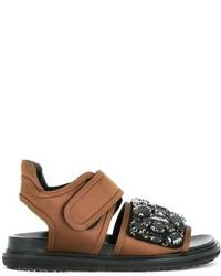 Sandales ornées tabac Marni