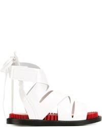 Sandales plates en cuir blanches Kenzo