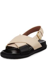 Sandales plates en cuir blanches Marni