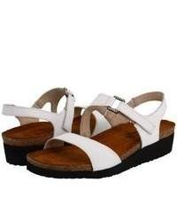 Sandales plates en cuir blanches Naot Footwear