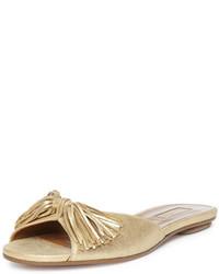 Sandales plates en cuir dorées Aquazzura