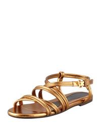 Sandales plates en cuir dorées Marni