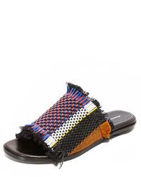 Sandales plates en cuir noires Proenza Schouler