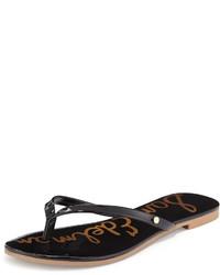 Sandales plates en cuir noires Sam Edelman