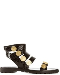 Sandales plates en cuir ornées noires Kenzo