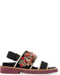 Sandales plates en cuir ornées noires Marni