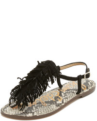 Sandales plates en daim à franges noires Sam Edelman