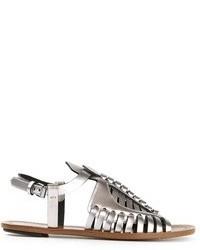 Sandales spartiates en cuir argentées Proenza Schouler