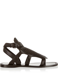 Sandales spartiates en cuir brunes foncées Bottega Veneta