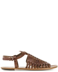 Sandales spartiates en cuir brunes foncées Proenza Schouler