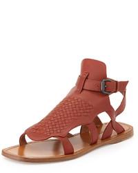 Sandales spartiates en cuir rouges Bottega Veneta