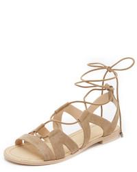 Sandales spartiates en daim brunes claires Rebecca Minkoff
