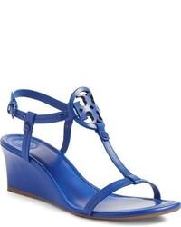 Sandalias con cuña azules de Tory Burch
