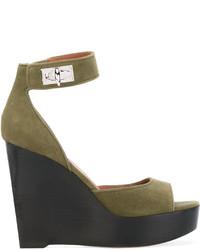 Sandalias con Cuña de Ante Verde Oliva de Givenchy