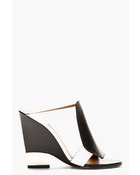 Sandalias con Cuña de Cuero Blancas y Negras de Givenchy