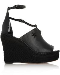 Sandalias con Cuña de Cuero con Adornos Negras de Givenchy