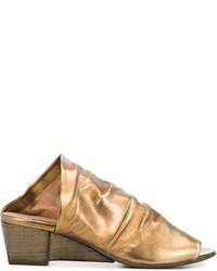Sandalias con cuña de cuero doradas de Marsèll