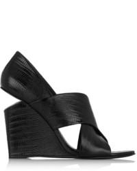 Sandalias con Cuña de Cuero Negras de Alexander Wang