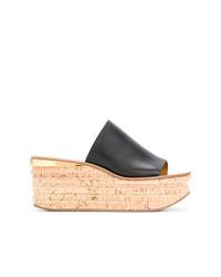 Sandalias con cuña de cuero negras de Chloé