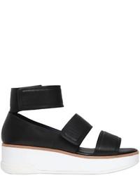 Sandalias con Cuña de Cuero Negras de DKNY