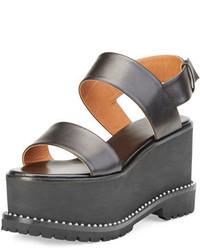 Sandalias con Cuña de Cuero Negras de Givenchy