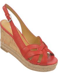 Sandalias con cuña de cuero rojas
