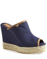 Sandalias con Cuña de Lona Azul Marino