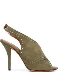 Sandalias de ante verde oliva de Givenchy