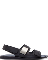 Sandalias de cuero azul marino de Calvin Klein Collection