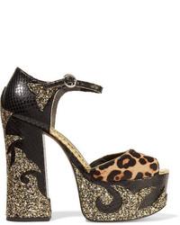 Sandalias de cuero con print de serpiente negras de Marc Jacobs