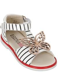 Sandalias de cuero de rayas horizontales blancas de Sophia Webster