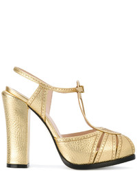Sandalias de cuero doradas de Fendi