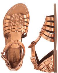 Sandalias de cuero doradas de J.Crew