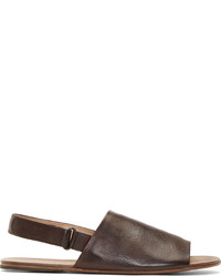 Sandalias de cuero en marrón oscuro de Marsèll