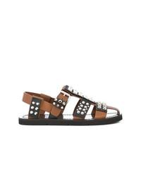 Sandalias de cuero marrónes de Prada