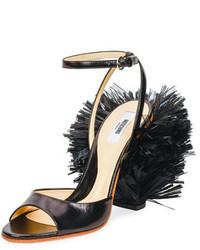 Sandalias de cuero negras de Moschino