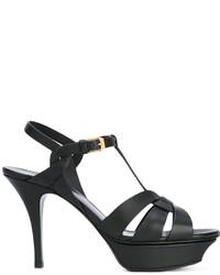 Sandalias de cuero negras de Saint Laurent