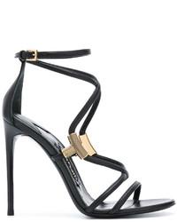 Sandalias de cuero negras de Tom Ford