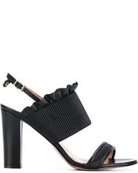 Sandalias de cuero negras de Twin-Set